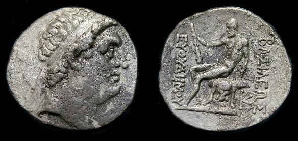 Ancient Coins - Baktrian.  Euthydemos I.  Ar tetradrachm.  230-190 BC.  Scarce type.