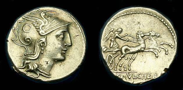 Ancient Coins - C. Claudius Pulcher.  Ar denarius.  110-109 BC.  Nice detail.