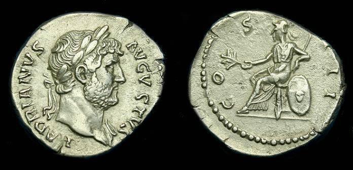 Ancient Coins - Hadrian.  Ar denarius.  117-138 AD.  Nice detail.