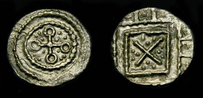 Ancient Coins - Anglo-Saxon.  Ar secondary sceat.  710-760  AD.  Nice detail.