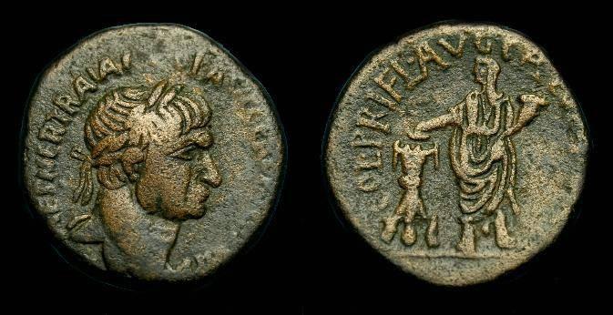 Ancient Coins - Trajan.  Samaria, Caesarea Maritima.  Ae 24.  98-117 AD.  Nice coin.