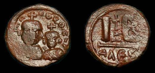 Ancient Coins - Heraclius.  Ae 12 nummi.  610-641 AD.  Good coin for issue.