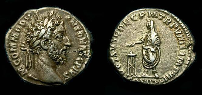 Ancient Coins - Commodus.  Ar denarius.  184 AD.  Nice portrait.