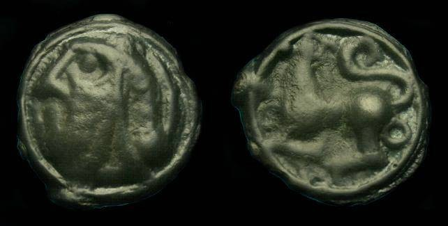 Ancient Coins - Gaul.  Sequani.  Ae potin.  60-50 BC.  Nice detail.