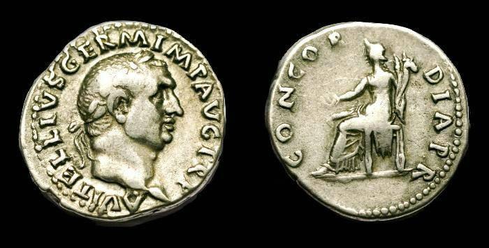 Ancient Coins - Vitellius.  Ar denarius.  C. 69 AD.  SCARCE.