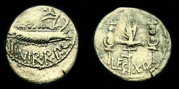 Ancient Coins - Mark Antony.  Ar denarius.  32-31 BC.  LEG XIX.