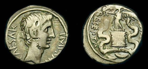 Ancient Coins - Octavian.  Ar quinarius.  29-28 BC.  Nice tone.