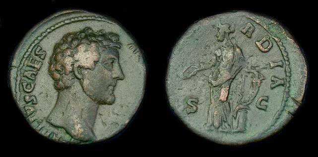 Ancient Coins - Marcus Aurelius.  Ae as.  147 AD.