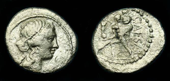 Ancient Coins - Julius Caesar.  Ar denarius.  47-46 BC.  A cheap space filler!!