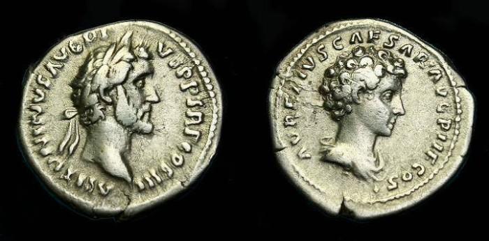 Ancient Coins - Antoninus Pius and Marcus Aurelius.  Ar denarius.  141 AD.  Scarce.