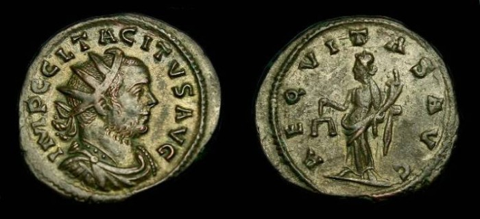 Ancient Coins - Tacitus.  Ae silvered ant.  275-276 AD.  Pleasing coin.