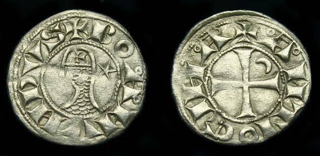 Ancient Coins - Bohemund III.  Ar denier.  1149-1201.  Nice coin.