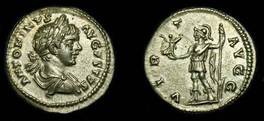 Ancient Coins - Caracalla.  Ar denarius.  198-217 AD.  Super detail.