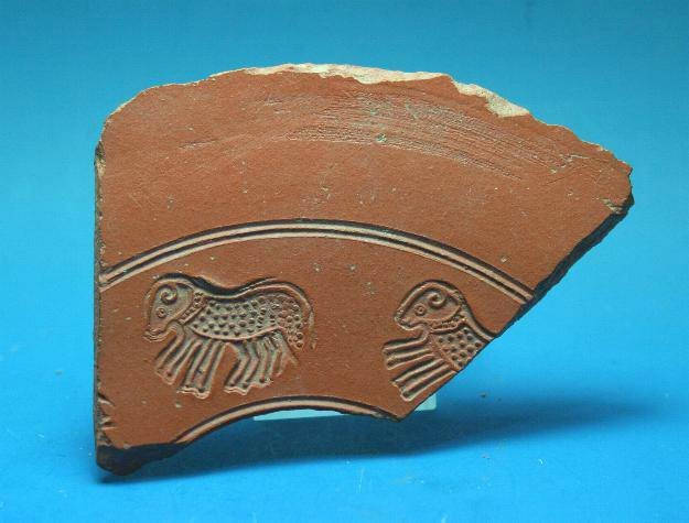 Ancient Coins - Late Roman terracotta red ware sherd.  C. 4th-5th century AD.  Nice crisp detail.