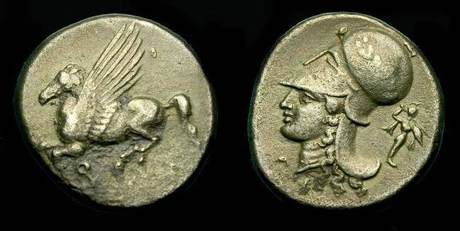 Ancient Coins - Corinth.  Ar stater.  345-307 BC.  Old collection coin.