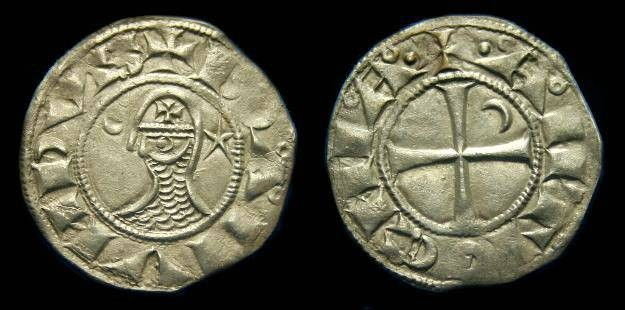 Ancient Coins - Crusader.  Bohemund III.  Ar denier.  C. 1163-1201.  Antioch.