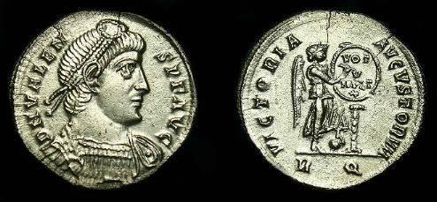 Ancient Coins - Valens.  Ar light mliarense.  364-378 AD.  Rare coin.