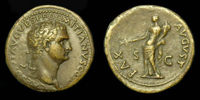 Ancient Coins - Domitian.  Ae sestertius.  C. 80 AD.  Nice portrait.