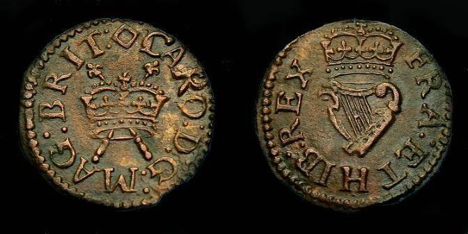 Ancient Coins - Charles I.  Ae Royal farthing.  1625-1649.  Super detail.