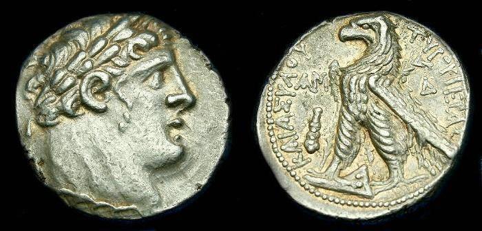 Ancient Coins - Phoenicia.  Tyre.  Ar shekel.  93-92 BC.  Nice coin.