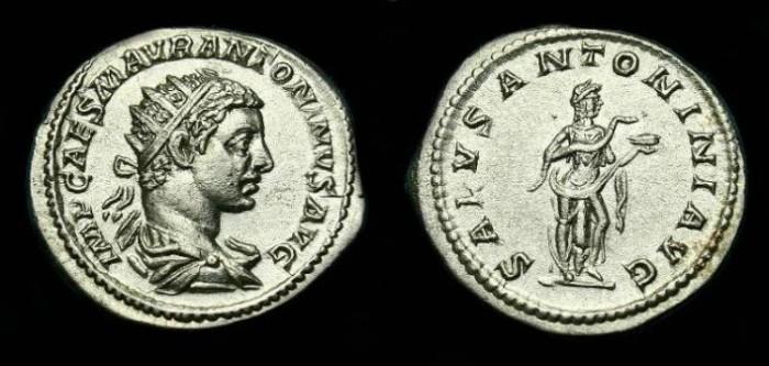 Ancient Coins - Elagabalus.  Ar ant.  218-219 AD.  Nice detail.