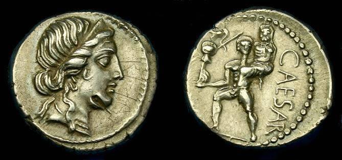 Ancient Coins - Julius Caesar.  Ar denarius.  47-46 BC.  Superb detail.