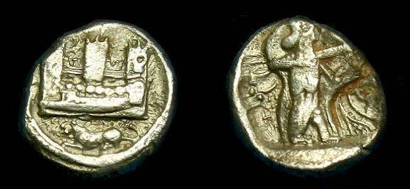 Ancient Coins - Phoenicia.  Sidon.  Ar 1/16th shekel.  410-400 BC.  Super detail for this little coin.