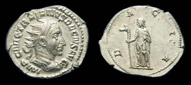 Ancient Coins - Trajan Decius.  Ar ant.  C. 250-251 AD.