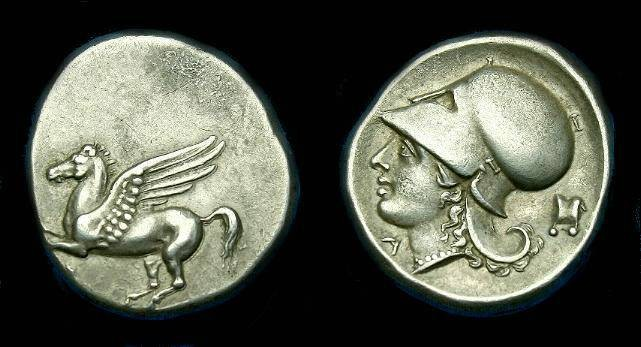 Ancient Coins - Corinth.  Ar stater.  345-307 BC.  Nice detail.