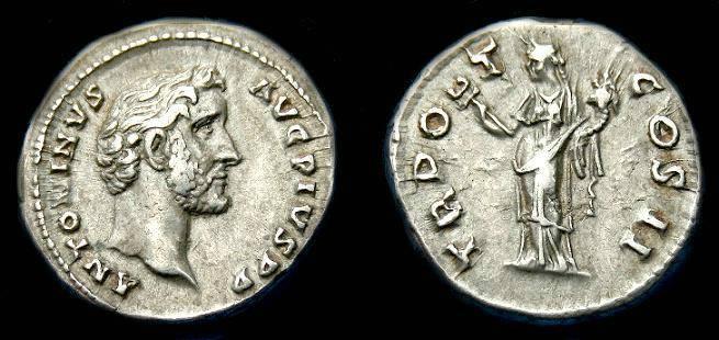 Ancient Coins - Antoninus Pius.  Ar denarius.  139 AD.  Good metal.