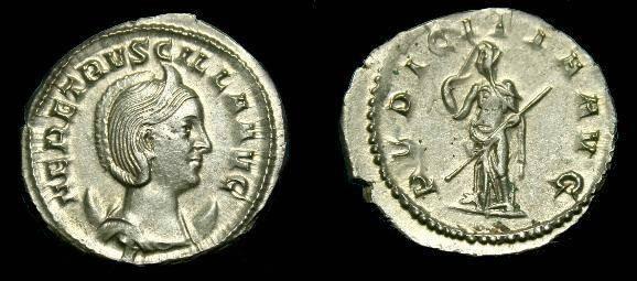 Ancient Coins - Herennia Etruscilla, wife of Trajan Decius. 249-251 AD.  Silver Ant.  Super coin.