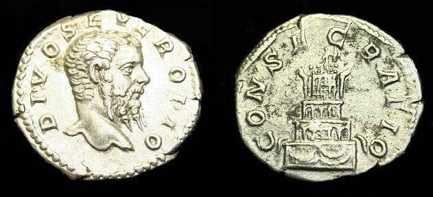 Ancient Coins - Divo Septimius Severus.  Ar denarius.  Died 211 AD.