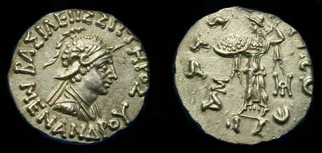Ancient Coins - Baktrian.  Menander.  Ar drachm.  160-145 BC.  Super coin.