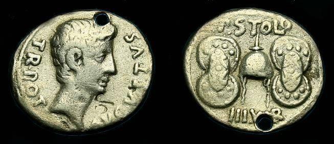 Ancient Coins - Augustus.  Ar denarius.  17 BC.  Pierced but rare type.