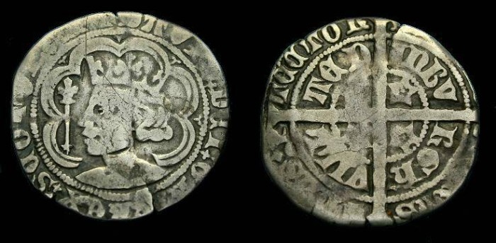 Ancient Coins - David II of Scotland.  Ar groat.  1329-1371.
