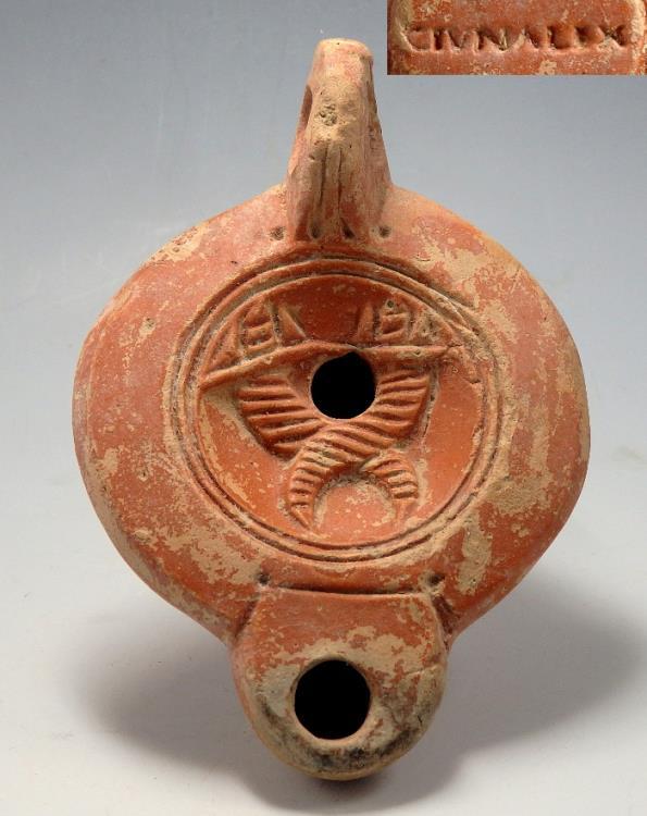 Ancient Coins - ROMAN TERRACOTTA OIL LAMP DEPICTING TWO CORNUCOPIAE & MAKER'S MARK