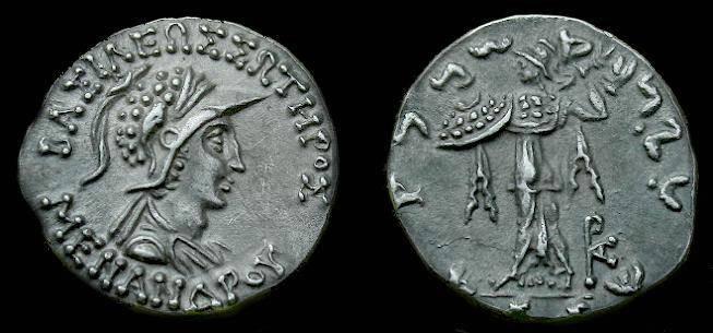 Ancient Coins - Indo-Greek.  Menander.  Ar drachm.  160-145 BC.  Super detail.