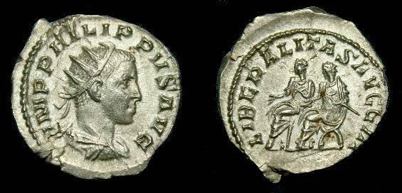 Ancient Coins - Philip II.  Ar ant.  247-249 AD.  Scarce coin.
