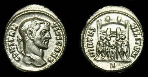 Ancient Coins - Constantius I.  Ar argenteus.  295-297 AD.  Scarce.