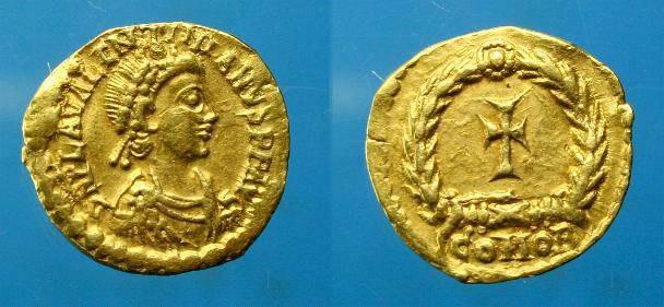 Ancient Coins - Valentinian III.  Au tremissis.  C. 425-456 AD.  SCARCE.