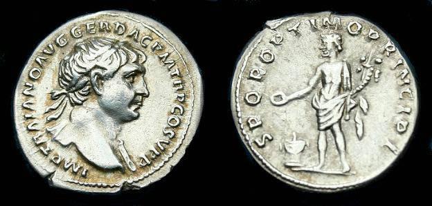 Ancient Coins - Trajan.  Ar denarius.  107 AD.  Pleasing coin.
