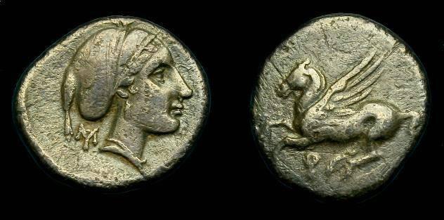 Ancient Coins - Corinth.  Ar drachm.  320-280 BC.