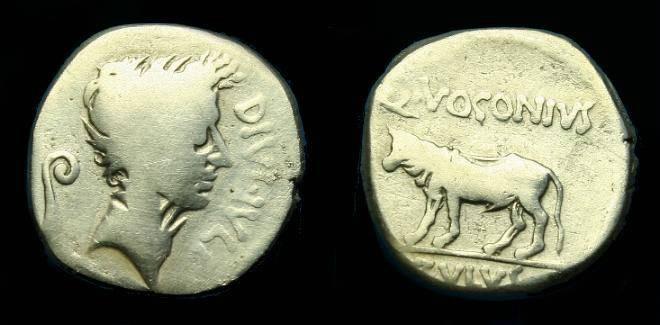 Ancient Coins - Julius Caesar.  Ar denarius.  40 BC.  Rare portrait type.