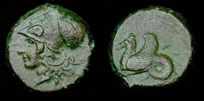 Ancient Coins - Sicily.  Syracuse.  Ae16.  375-345 BC.