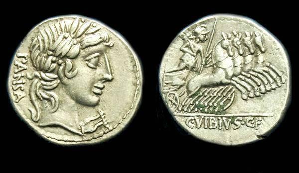 Ancient Coins - C Vibius Cf Pansa.  Ar denarius.  C. 90 BC.
