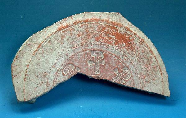 Ancient Coins - Late Roman large red ware sherd decorated with Christian symbols.  C. 4th-5th century AD.