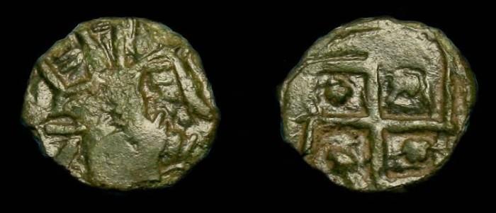 Ancient Coins - Barbarous Radiate.  Celtic immitation Roman coin.  3rd century AD.  'Swaztika'