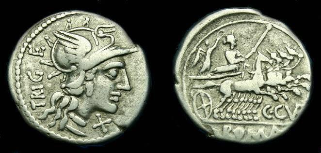 Ancient Coins - C. Curiatius Trigeminus.  Ar denarius.  142 BC.  Pleasing coin.