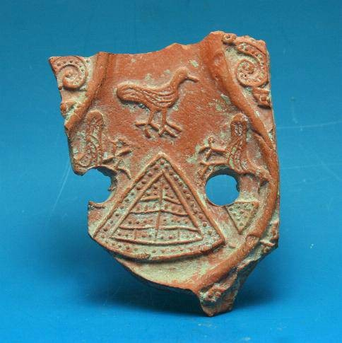 Ancient Coins - Late Roman terracotta oil lamp red ware sherd. C. 4th-5th century AD.  Interesting type.
