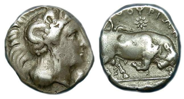 Ancient Coins - LUCANIA  THOURIOI  AR  STATER